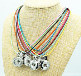 Wholesale Colorful Necklaces Crystals - New DJ064 Beauty 10pcs colorful rope ginger snap necklace 42CM fit 18mm ginger snap buttons wholesale