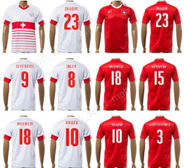 Wholesale Flash Football - 2017 Switzerland Soccer Jersey Custom National Team Swiss Football Shirts 10 Granit Xhaka 9 Haris Seferovic 18 Admir Mehmedi Thai Quality