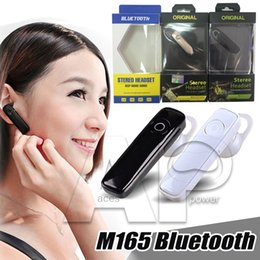 Wholesale Wholesale Blackberry Handsfree - M165 For Samsung S8 Edge iphone 6 Earphone Wireless headphone Stereo bluetooth headset Earphones Mini Headphones Handsfree For Iphone 7 Plus