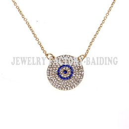 Wholesale Turkish Necklace Pendant Evil Eye - Wholesale-Free shipping!fashion colar turco crystal plated evil eye necklace, turkish necklace,blue evil eye,popular chain necklace