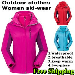 Wholesale Qiu Dong Jacket - The outdoor female money charge two-piece garments Outdoor jackets Rainwear camping mountaineering wear outdoor supplies qiu dong manufactur