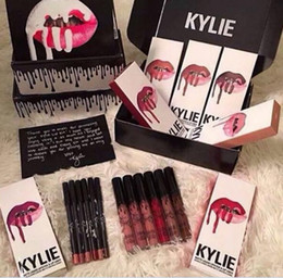 Wholesale Wholesale Lips - 2017 Latest KYLIE JENNER LIP KIT liner Kylie Lipliner pencil Velvetine Liquid Matte Lipstick Makeup Lip Gloss Make Up 42 colors DHL FREE
