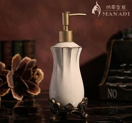 Wholesale Icing Pump - European style Fashion ice crack ceramic lotion bottle pump head soap bottle home supplies carving hand sanitizer bottle free shipping