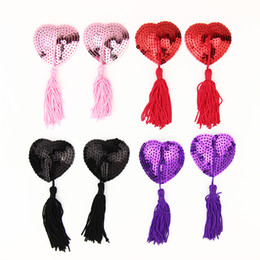 Wholesale New Nipple Tassels - New Womens Pasties Pair Round Sequin Sexy T- Tit Tape Breast Pad Nipple Cover Set Sticker Multi Colors Tassels Fringes Reusable
