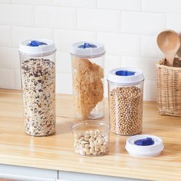 Wholesale Glass Jars Wood - 5Pcs Kitchen Mixed Grains Containers Air Proof Plastic Keep Food Fresh Storage Containers Dampproof Box Large Capacity Transparent Jar