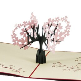 Wholesale Blossom Cards - (10 pieces lot)Creative 3D Paper Cutting Stereo Birthday Card The Cherry Blossom Carving Paper Greeting Cards Free Shipping