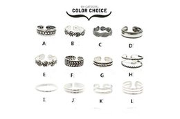 Wholesale Carved Diamond Ring - 12Pcs Set Mix Celebrity Fashion Summer Retro Carved Flower Adjustable Foot Rings For Women Open Toe Ring Jewelry