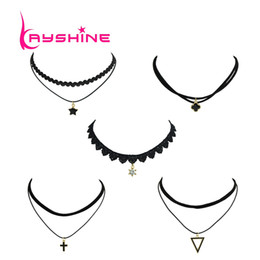 Wholesale Multi Layer Cross Necklace - 5 Pcs Set Punk Rock Style Black Lace Rope With Multi Layer Chain Star Cross Triangle Shape Choker Necklace For Women