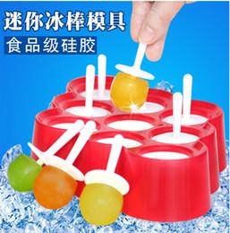 Moldes de bolas online-Ice Lolly Mold Silicona Mini Ice Pops Molde Cream Ball Maker Moldes para Helados con 9 Cavidades Herramientas de Cocina DIY 15zc J R