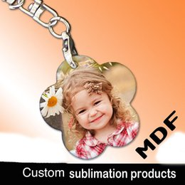 Wholesale Wholesale Sublimation Bags - Sublimation blank MDF wood key chain bag pendants gift for children can printing photo picture custom company design personality gift
