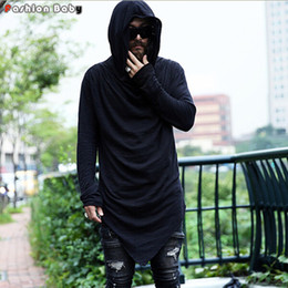 Wholesale Hooded Long Sleeve Tees Men - Wholesale- Brand Men's Unique Designer Hooded T-shirt Long Sleeve Fashion Casual Costume Night Club Summer Tee shirts Quality 2016 New