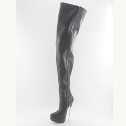 Botas con punta online-Wonderheel negro mate caliente 18 cm pico tacón sexy fetiche mujer muslo botas altas botas de cuero suave entrepierna plataforma