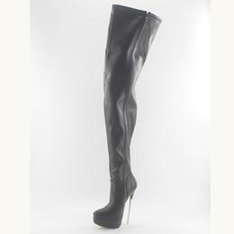 Wholesale Spikes High Platform Boots - Wonderheel hot black matte 18cm spike heel sexy fetish women thigh high boots soft leather fashion platform crotch boots