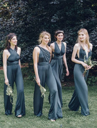 Wholesale Gowns Neck Designs - New Design Convertible Bridesmaid Jumpsuits Chiffon Backless Country Bridesmaids Dresses Pleat Maid of Honor Gowns for weddings