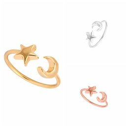 Wholesale Fashon Rings - Min 1pc New Fashon Gold Silver and Rose Gold Plated Adjustable Crescent Moon and Tiny Star Rings for Women JZ161