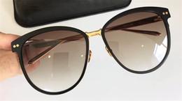 Wholesale Brown Linda - new linda farrow547 sunglasses titanium frame with coating mirror lens women designer fashion sunglasses vintage Butterfly frame top quality