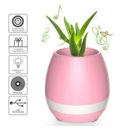 Wholesale real audio music - Smart Flower Pots Music Play flowerpot with bluetooth speaker intelligent touch control colorful light long time play BT3.1 Real plant pot