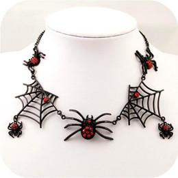 Wholesale Austrian Crystal Earrings Necklace - Halloween Tarantula Spider Web Necklace Austrian Crystal And Black Spider Web Dangling Red Rhinestone Halloween Earrings