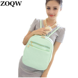 92c6d5765bb0 Wholesale- 2016 Fashion Women s Leather Backpacks Student Schoolbag Candy  Color College Trendy Shoulder Bags Women Travel Backpack GQ1149