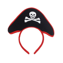 Wholesale child pirate costumes - Creative Kids Pirate Hat Headband Skull Caribbean Head Hoop Children Costume Fancy Dress Party Accessories