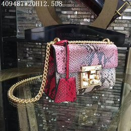 Wholesale Gold Serpentine Chain - Europe&American leather Cross body Women block colors serpentine 20cm small shoulder bags Original leather and hardware with box perfect