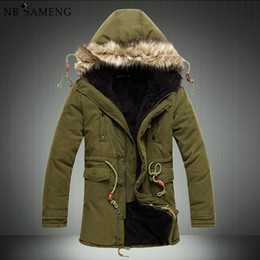 Wholesale Cheap Mens Fur Jackets - Wholesale- Men'S Parkas Men Winter Cheap Down Jacket Fur Coat Causal Long Male Warm Mens Duck Parka Homme Park Brand Clothing Erkek