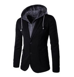 Wholesale Model Small Dress - Wholesale- Hot explosion models 2016 new men's suits hooded fall winter funds small suit dress false two design two button suit Slim