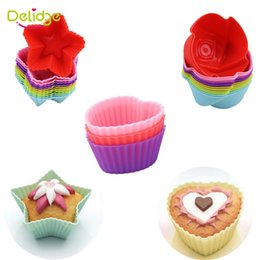 Wholesale Silicone Star Baking Cup - Delidge 6 pcs set Colorful Muffin Cupcake Mold Heart Flower Five-Pointed Star Shape Silicone Muffin Cupcake Molds
