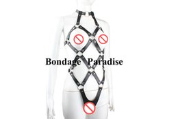 Wholesale Bondage Teddy - Bondage PVC Harness Teddy Body Harness Sex Restraint Bondage Sexy Clothing Suit for Her Adult Sex products
