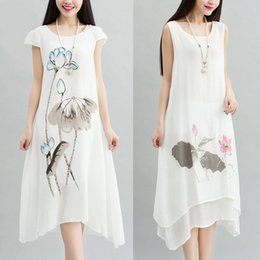 Wholesale Natural Linen Paint - Vintage Dress Plus Size Women Clothing Restore Ancient Ways The Hand-painted Fairy Skirt Loose Cotton Print Skirt of Big Yards