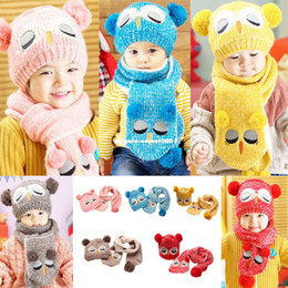 Wholesale Owl Crochet Set - New Arrival Winter Kids Baby Boys Girls Solid Caps Scarf Warm Cotton Wool Knitted Cute Owl Hat+Beanie Scarf 2pcs Set
