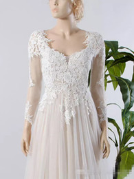 Wholesale Tulle Underlay Dress - 2017 High Quality Romantic Nude Underlay Lace Plus Size Long Sleeve Empire Pregnant Wedding Dresses Bride Gown Tulle