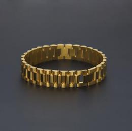 Wholesale 24k Gold Bracelets Men - 24k Gold Silver Watch Band Bracelet Link Men Stainless Steel Hip hop Style BraceletFashion Punk Jewelry