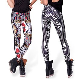Wholesale Queen Hearts Leggings - Women's Digital Printing Queen of Hearts Poker Elastic Leggings Pencil Pants
