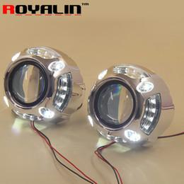 Wholesale Mini Bi Xenon - ROYALIN Car Styling 2.5'' Bi-Xenon Mini Projector Lens H1 w  LED Angel Eyes Daytime Running Lights Lens DRL for H4 H7 Auto Lamps