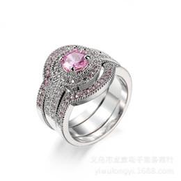 Wholesale Diamond Ring Gp - Antique Gift 6mm Pink Simulated Diamond Gold GP Engagement Wedding Band Ring Set Size6-10