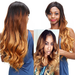 Wholesale Three Tone Wigs - Ombre Full Lace Wigs Human Hair Long Wavy Three Tone Lace Front Wigs Baby Hair T1b 4 27 Body Wave Brazilian Virgin Hair