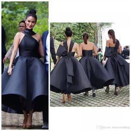 Wholesale Formal Tea Length Dresses Halter - Black Elegant 2017 Arabic Bridesmaid Dresses Halter Ball Gown Satin Maid Of Honor Dress Ankle Length Formal Party Gowns