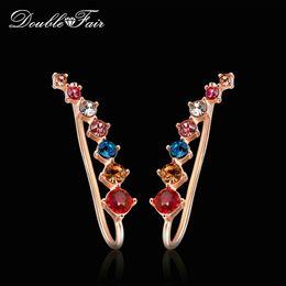 Wholesale Diamond Shaped Jewelry - Angel Wings Shape Multicolor Stud Earrings Cubic Zirconia Silver Rose Gold Color Fashion Crystal CZ Diamond Jewelry For Women Girls DFE527