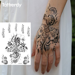 Wholesale Eye Tattoos Stickers Lace - Wholesale- 1sheet Black and White henna Fake Lace tattoo stickers Metallic temporary flash tattoos Arabic Indian Summer Trendy new S1013B