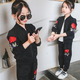 Wholesale Kids Activewear Wholesale - Embroidery Roses floral girls tracksuit new 2017 Kids Sets Coat Tops + casual trousers Kids Sweat Suits Sports Children Activewear A899