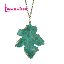 Wholesale Leaf Necklace Bronze - Bijuteria Ethnic Style Maxi Necklace Bronze plated Chain with Green Enamel Leaf Pendant Boho Necklace for Women Fashion Jewelry