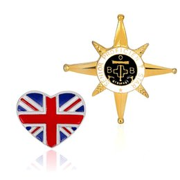Wholesale British Anchor - New England Style British Flag & Five-pointed Star Anchor Icon Gold Plated Brooch for Female Badges Pins 170742
