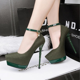 Wholesale Nightclub High Heel Shoes - 219-7 European station with high-heeled waterproof nightclubs single shoes sexy word with pointed fine with diamond shoes