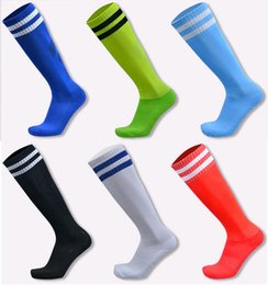 Wholesale Children Tube Socks White - Children Kids Soccer Socks Adult Unisex football Stocking Stripes Over knee long tube moisture absorption anti - skid Sports Socks Wholesale