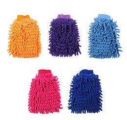 Wholesale Wholesale Chenille Microfiber Mitt - Car Washing Cleaning Gloves Double Side Chenille Washer Tool Super Mitt Microfiber Cleaning Cloth Wholesale Free Shipping
