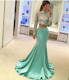Wholesale Blue Collar Special - Mint Green 2 Piece Prom Dresses Long Sleeve Mermaid Style 2017 High Quality Sheer Lace Special Occasion Party Dress For Evening