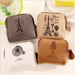 Wholesale Wholesale Paris Canvas - Coin purses Restoring ancient ways Paris memory canvas coin purses child women change purse,lady zero wallets bag