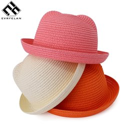 Wholesale Wholesale Straw Hats For Kids - Wholesale- Fashion Children Straw Caps Baby Ears Decoration Character Lovely Sun Hat Kids Solid Beach Hats For Girls and Boys Summer Hats