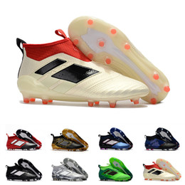 Wholesale Ground Spikes - 2017 Wholesale Discount Ace 17 Soccer Cleats Ace 17+ Purecontrol Firm Ground Cleats FG CG Men Football Soccer Shoes Top Quality